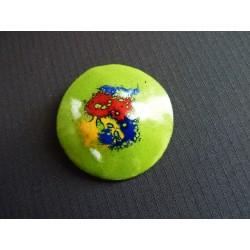 Broche pastille en métal émaillé multicolore