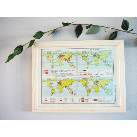 Ancienne carte du Monde économique années 1956