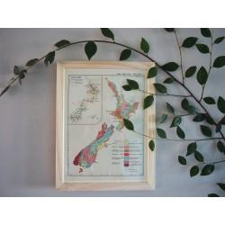 Ancienne carte de la Nouvelle Zélande années 1950