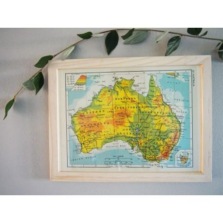 Ancienne carte d'Australie années 1950