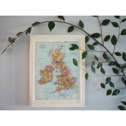 Ancienne carte des Iles Britanniques années 1950