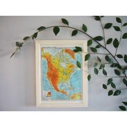 Ancienne carte d'Amérique du Nord années 1950