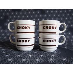 Lot de 4 tasses à café vintage Choky