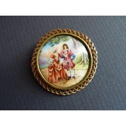 Broche ancienne médaillon en porcelaine Limoges