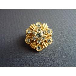 Broche vintage ronde métal doré et strass