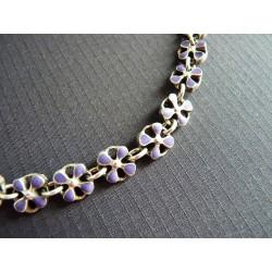 Bracelet  fleurs de métal émaillé violet