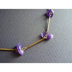 Bracelet en baguettes de laiton et améthystes