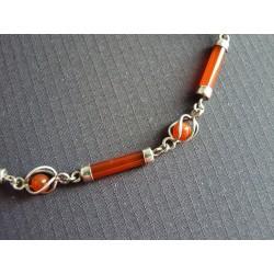 Bracelet en baguettes et billes de cornaline sur argent