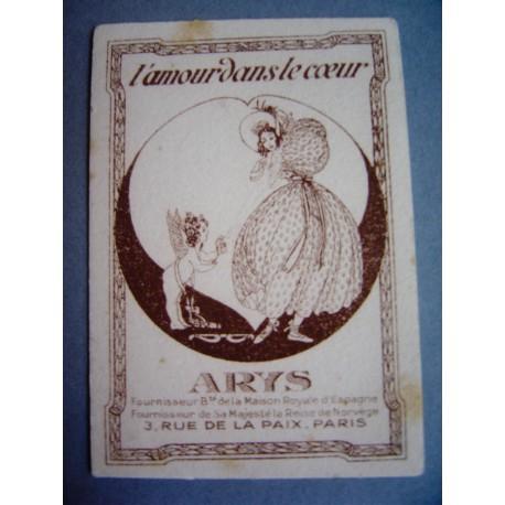 Ancienne carte parfumée L'amour dans le cœur de Arys