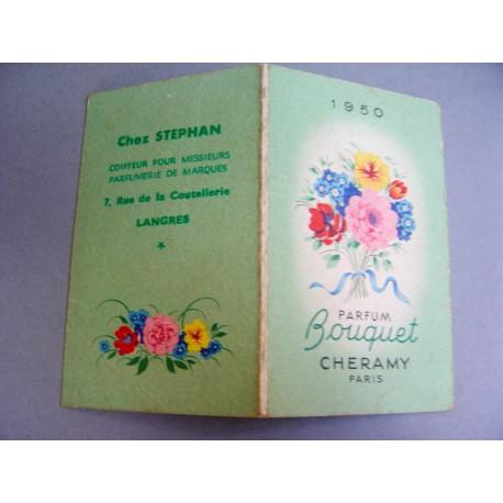 Ancien calendrier parfumé 1950 Bouquet de Cheramy