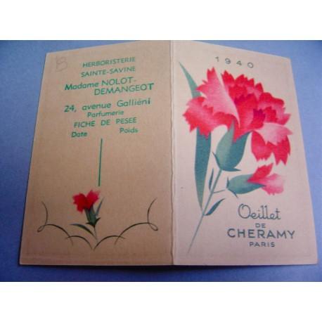 Ancien calendrier parfumé 1940 Oeillet de Cheramy