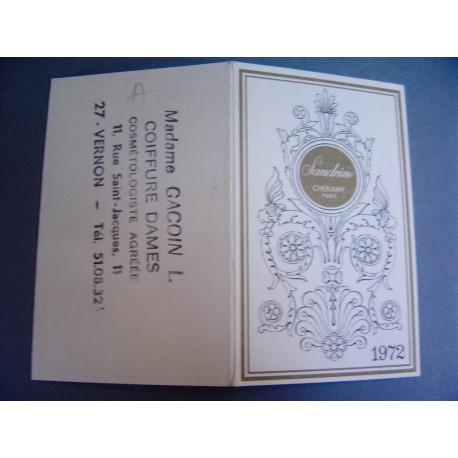 Ancien calendrier parfumé 1972 Sandrine de Cheramy