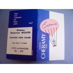 Ancien calendrier parfumé 1958 Espace de Cheramy