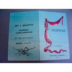 Ancien calendrier parfumé 1960 Festival de Cheramy