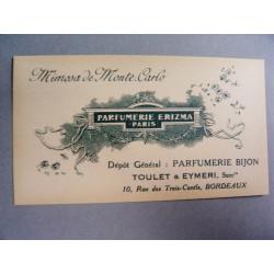 Ancienne carte parfumée Mimosa de Monte-Carlo de Erizma
