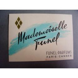 Ancienne carte parfumée Mademoiselle Funel de Funel