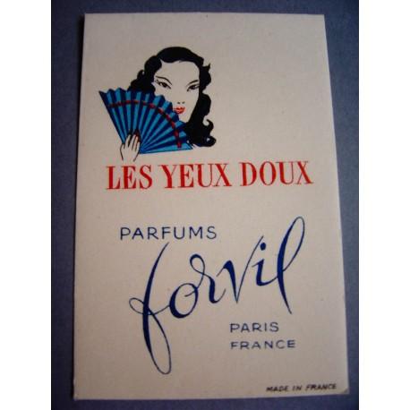 Ancienne carte parfumée Les Yeux Doux de Forvil
