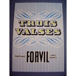Ancienne carte parfumée Trois Valses de Forvil