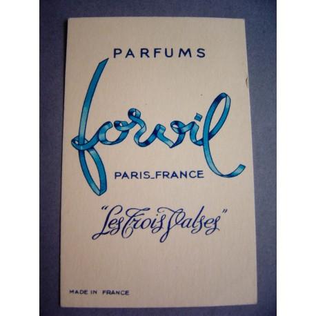 Ancienne carte parfumée Les Trois Valses de Forvil