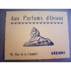 Ancienne carte parfumée Aux parfums d'Orient