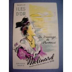 Ancienne carte parfumée Iles d'Or de Molinard