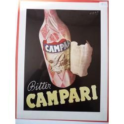 Ancienne publicité originale couleur Campari de Fisa 1950