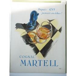 Ancienne publicité originale couleur pour le Cognac Martell de Bétin 1953
