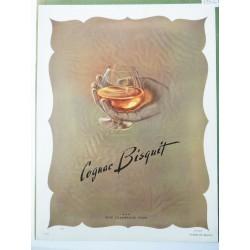 Ancienne publicité originale couleur pour le Cognac Bisquit 1952