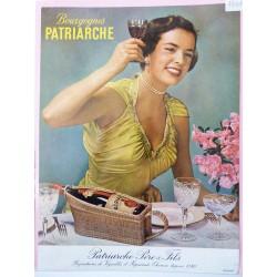 Ancienne publicité originale couleur pour les Bourgognes Patriarche 1954