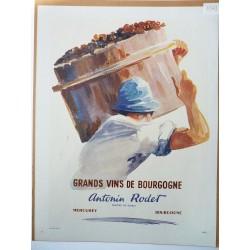 Ancienne publicité originale couleur pour le Bourgogne Antonin Rodet 1947