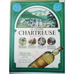 Ancienne publicité originale couleur La Grande Chartreuse 1952
