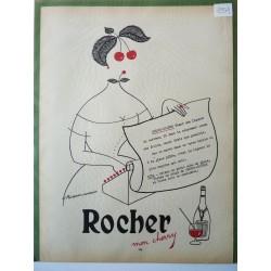 Ancienne publicité originale en bichromie Cherry Rocher de Philibert-Charrin 1954