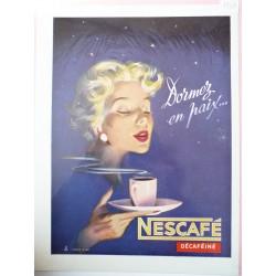 Ancienne publicité originale couleur Nescafé de Pierre Couronne 1954