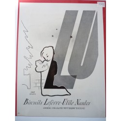 Ancienne publicité originale noir & blanc LU de Jean Roudil 1949