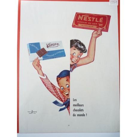Ancienne publicité originale couleur, chocolats Nestlé et Kohler de Pierre Couronne 1954