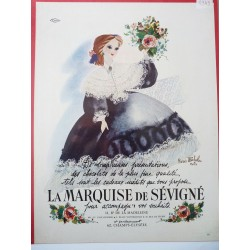 Ancienne publicité originale couleur pour les chocolats la Marquise de Sévigné de Renée Michèle 1949