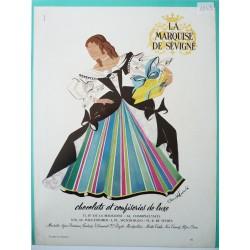 Ancienne publicité originale couleur pour les chocolats la Marquise de Sévigné de Janick Lederlé 1953