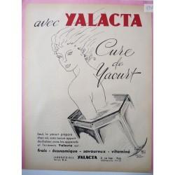 Ancienne publicité originale bichromie pour les yahourts Yalacta de Eliane Drappier 1954