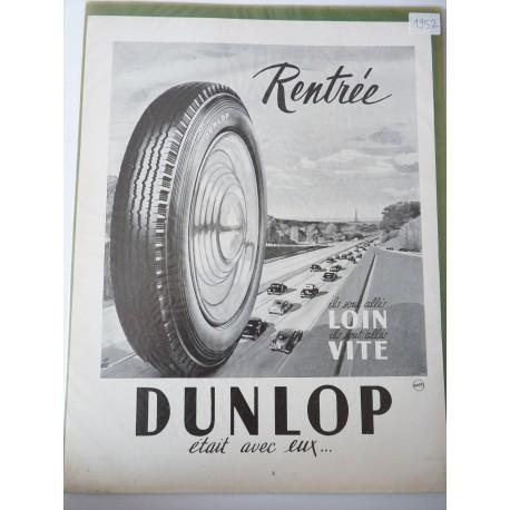 Ancienne publicité originale noir & blanc pour les pneus Dunlop 1952