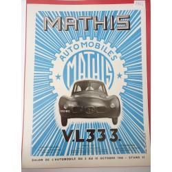 Ancienne publicité originale automobiles Mathis de Maurice Tranchant 1946