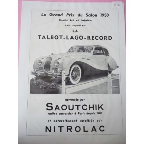 Ancienne publicité originale noir & blanc pour les automobiles Saoutchik 1950