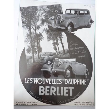 Ancienne publicité originale noir & blanc pour les automobiles Dauphine de Berliet 1937