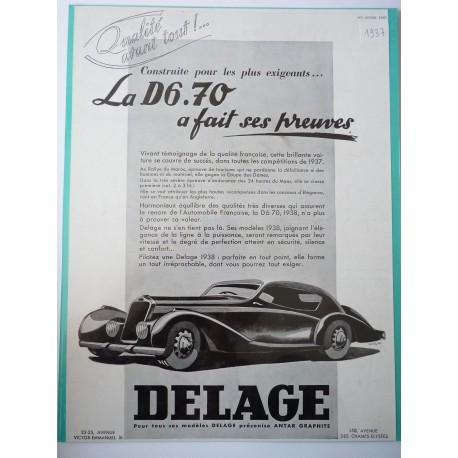 Ancienne publicité originale noir & blanc pour la D6.70 de Delage de Renluc 1937