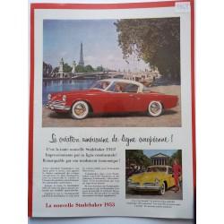 Ancienne publicité originale couleur pour la Studebaker 1953