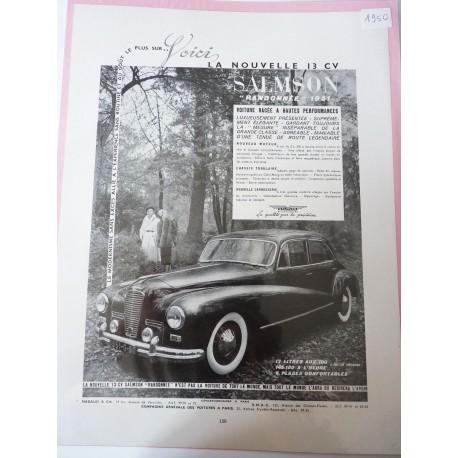 Ancienne publicité originale noir & blanc Salmson 1950