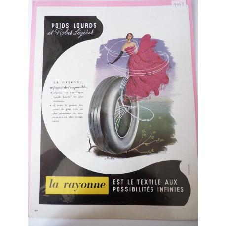 Ancienne publicité originale couleur pour La Rayonne 1949