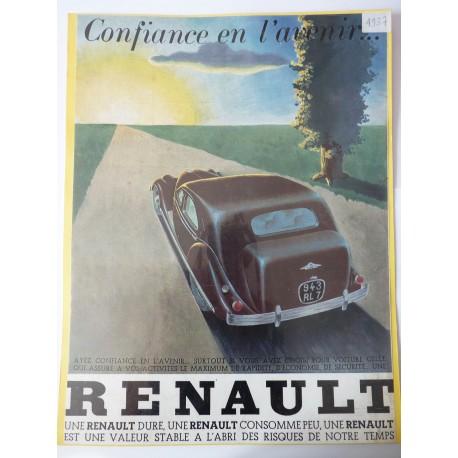 Ancienne publicité originale couleur Renault 1937