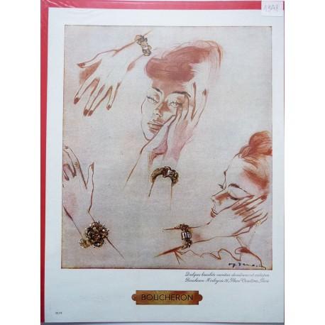 Ancienne publicité originale couleur Boucheron de Demachy 1948