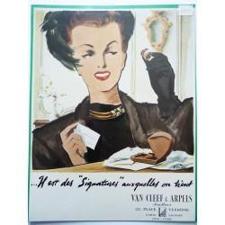 Ancienne publicité originale couleur Van Cleef & Arpels  de Pierre Simon 1949