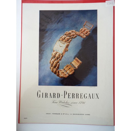 Ancienne publicité originale couleur Girard-Perregaux 1948